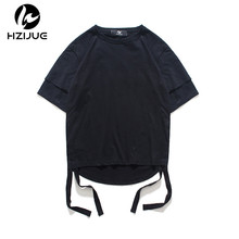 HZIJUE 2017 hip hop brand clothing men t shirt Original design top Street wear male Solid color T shirts double sleeves tees