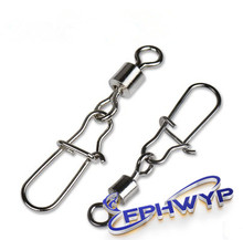 FPHWYP 50pcs/lot Fishing Swivel Stainless Steel Rolling Swivel With Snap Fishing Lure Connector Fish tools fishing Connector