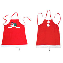 Santa Claus Christmas Apron Red Bib Waitress Fancy Dress Costume Xmas Gift Christmas Decorations for Home Kitchen Adult Apron(China)