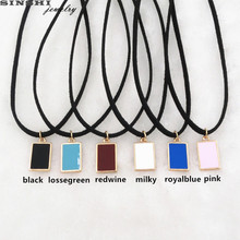 SINSHI Fashion New Black Choker Necklaces For Women Black Milky blue Pendant Leather Torque Necklace Collier Femme Jewelry