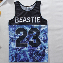 Hollow Design Breathable Mens Sports Tees,Sleeveless Basketball Jerseys,Outdoors Gymwear Vests,Teenager Cartoon Pattern T Shirts