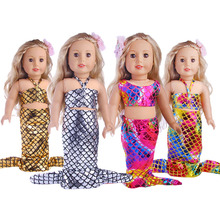 4 colors Glittering Mermaid Set 18 Inches American Girl Doll Baby Doll Clothes Accessories The best Christmas gift