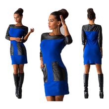 Buy 2017 Women Casual Patchwork Mini Dress PU Pocket Autumn Winter Three Quarter Sleeve O-neck Cool Spring Bodycon Vestidos for $12.50 in AliExpress store