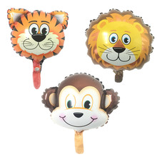 BINGTIAN mini Lion & monkey & tiger Animals Head Helium Foil Balloons Animal Air Balloons theme birthday party supplies(China)