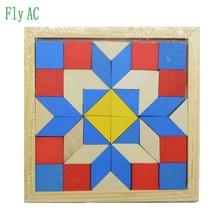 Fun Geometry Rhombus Tangrams Logic Puzzles Wooden Toys for Children Training Brain IQ Games Kids Gifts(China)