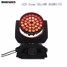 4PCS LED Moving Head Wash Light LED Zoom Wash 36x18W RGBWA+UV Color DMX Stage Moving Heads Wash Touch Screen