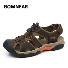 Buy GOMNEAR Genuine Leather Men Outdoor Sandals Summer Beach Quick Dry Shoes Breathable Anti-slip Outdoor Fishing Traveling Sneakers for $32.64 in AliExpress store