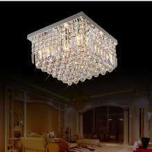 LED Simple Modern Crystal Lights Ceiling Light Round Stainless Steel Living Room Bedroom Light Crystal Light fixture led lamps(China)