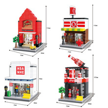 Store Model HSANHE City street Series 4 models Building Blocks Pizza shop Cola store Mini Street Best gift Toys Assembled Bricks