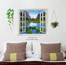 3D Windows Landscape Tree River Forest Wall Stickers Nature Posters Wallpaper Home Decor Mural Room Accessories Art