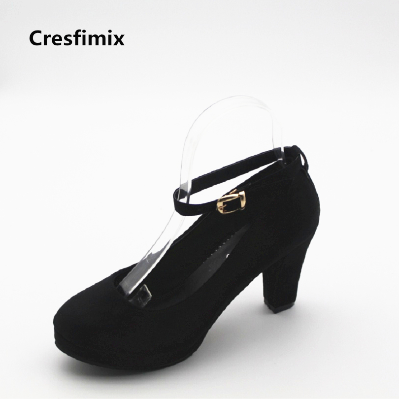 Cresfimix women fashion buckle strap high heel pumps lady casual street stylish high heel shoes lady sexy round toe shoes