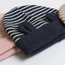 Child Kids Newborn Baby Cotton Ears Stripe Cotton Baby Caps Beanie Warm Hat