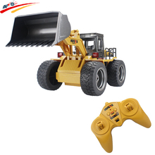 RC Truck Alloy Shovel Loader 6CH 4WD Wheel Loader Metal Remote Control Bulldozer Construction Vehicles For Kids Hobby Toys Gifts(China)