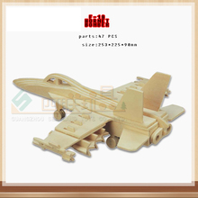 New Baby Baby Kid 3D wooden Fighter jigsaw puzzle toy educational wooden toys for DIY handmade puzzles military series F-18(China)