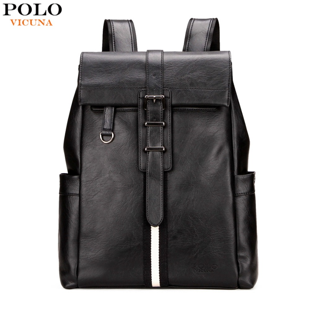 VICUNA POLO Fashion Striped Men Leather Backpack Bag Large Capacity Cover Open College Student Rucksack Black Mens Laptop Bags<br>