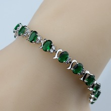 925 Sterling Silver Lovely Green Created Emerald Bracelet Health Fashion  Jewelry For Women Free Jewelry Box SL135