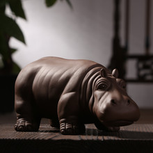 Authentic Yixing Purple Clay Hippo Tea Pet Boutique Chinese Kung Fu Tea Set Ornament Ceramic Crafts Lucky Fengshui Home Decor