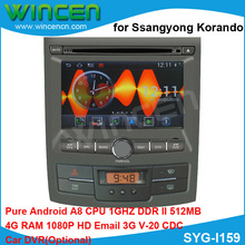 S150 Android 4.0 Car DVD GPS player for Ssangyong Korando 1080p HD A8 chip1GHZ CPU 512MB  DDR DSP WIFI 3G DVR TMC TPMS(opt)