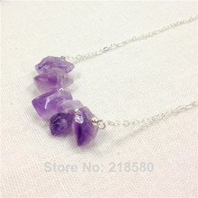 H-QN93 Amethysts Crystal Quartz Necklace Bar Swing Purple Stone Pendant Chain Necklace Sliver Or Gold Color