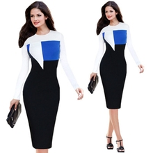 Buy Womens Elegant Optical Illusion Colorblock Contrast Modest One Piece Dress Suit Work Business Casual Party Sheath Pencil Dress for $18.15 in AliExpress store