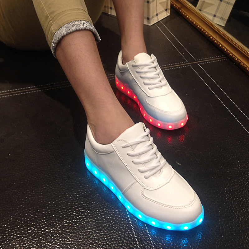 Gold Led Shoes for Adults Women &amp; Men Casual Shoes 2017 Rechargeable Colorful Luminous Shoes Lace Up Light Valentine G50<br><br>Aliexpress