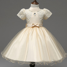 New Summer 2017 White Dress Baby Girl Christening Gowns Kids Pageant Dresses Lace Flower Girl Prom Party Princess Formal Dresses