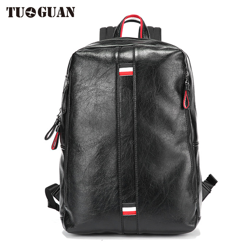 TUGUAN Men PU Backpack Leather Laptop Bag Waterproof Casual Fashion Schoolbag College Student Back Pack for Boy Male Bagpack <br>