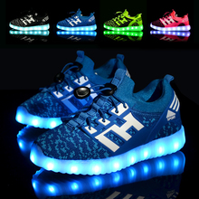 7 Colors Fashion Kids Sneakers Children's USB Charging Luminous Lighted Sneakers Boy/Girls Colorful LED light Children Shoes(China)