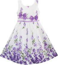 Sunny Fashion Girls Dress Purple Rose Flower Double Bow Tie Party Kids Sundress 2016 Summer Princess Wedding Dresses Size 4-12
