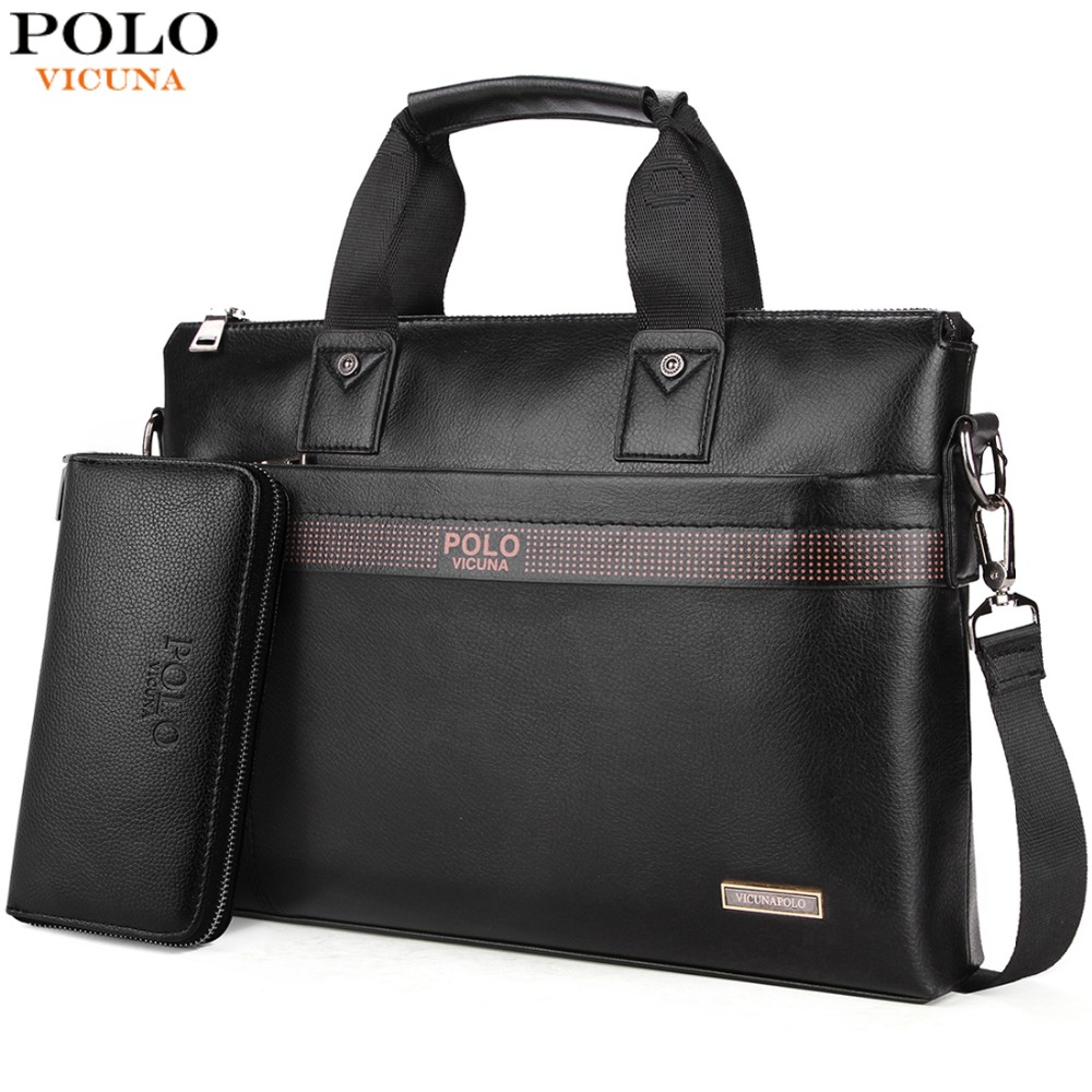 VICUNA POLO Top Sell Fashion Simple Dot Famous Brand Business Men Briefcase Bag Leather Laptop Bag Casual Man Bag Shoulder bags(China)