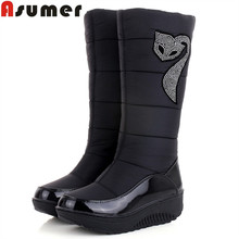 ASUMER HOT 2017 Winter Russia keep warm snow boots women Cotton shoes fashion platform down fur boots half knee high boots(China)
