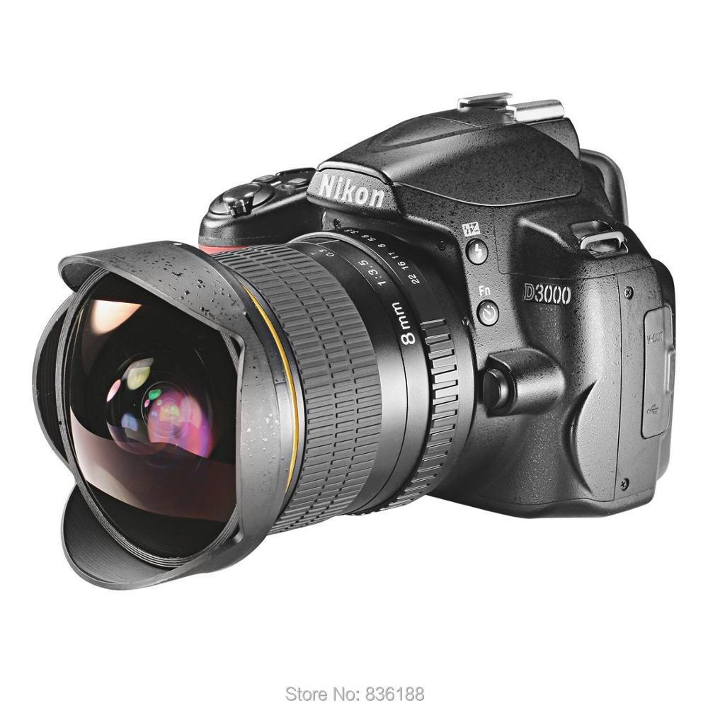 JINTU 8mm F/3.5-F22 Ultra Wide Angle Fisheye camera Lens for Nikon DSLR Cameras D70 D7500 D90 D7100 D90 D3300 D3400 D5400 d80 5
