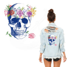 2017 new pattern garland Skull 26*24cm flower patches for clothing jacket T-shirt Thermal transfer can washing(China)