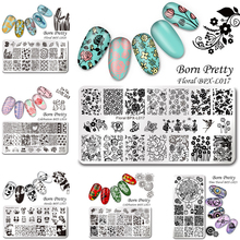 1 Pc BORN PRETTY Nail Art Stamp Template Stamping Plates Floral Panda Geometry Rectangle Manicure Image Plate BPX-L013-L023(China)