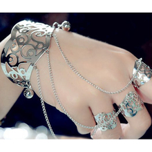 Wholesale/Retail WOMEN Silver Plating Cuff SLAVE BRACELET Connected FLOWER BELL DANCING RING Hot Jewelry Bracelets For Girls Y4(China)
