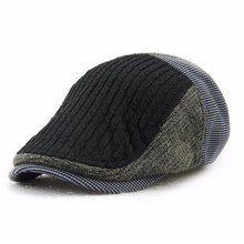 Retro Knitting Wool Peaked Beters Adult Unisex Cap Autumn Winter Warm Men Women Striped Sun Hat Visor For Mom Dad Gift