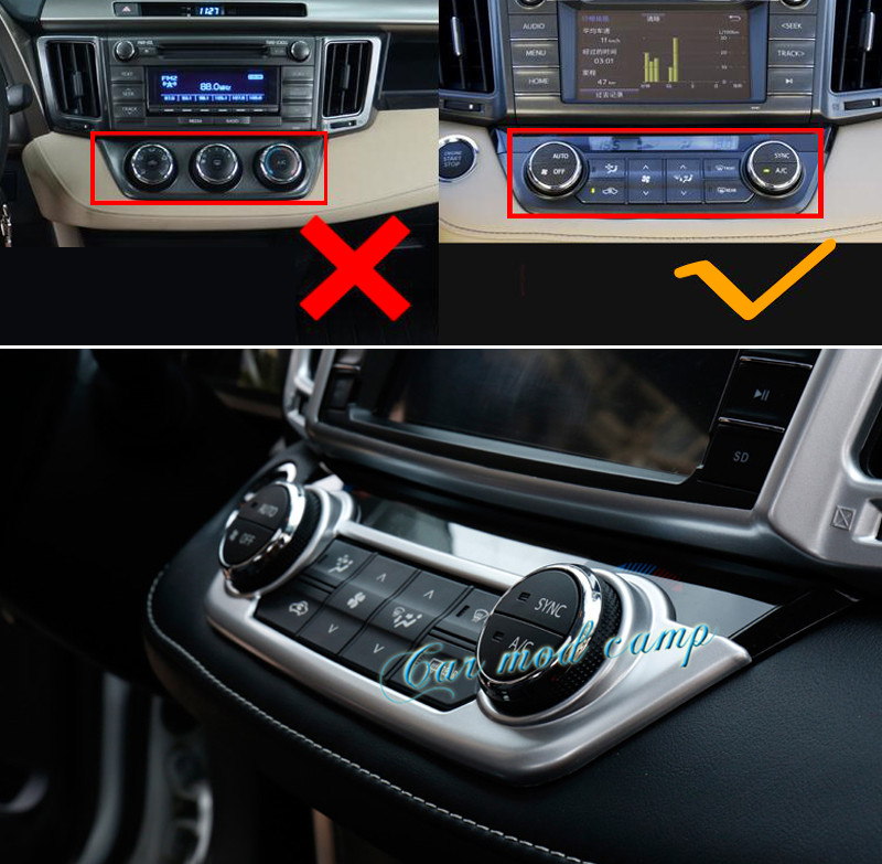 Interior Air Condition Adjust Button Cover Trim 1pcs For Toyota RAV4 2013-2017