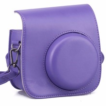 PU Leather Camera Bag for Fujifilm Instax Mini 8 Case bag----Vintage Purple