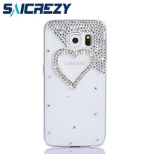 handmade rhinestone love crystal mobile phone case for Samsung Galaxy S4 Mini I9190 S6 S7 Edge A5 A3 2017 C5 C7 cell phone case(China)