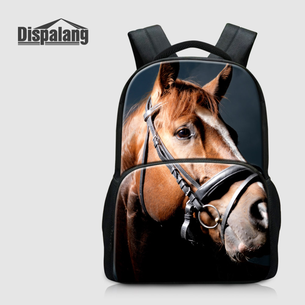 Dispalang Felt Laptop Backpack Horse Animal Print Mens Backpacks Large Capacity Traveling Bag Oxford School Bags For Teenager<br>
