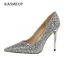 RASMEUP 9.5 CM Super High Heel Glitters Women's Pumps Spring Fashion Pointed Toe Sexy Women Thin Heels Woman Wedding Party Shoes(China)