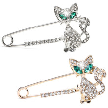 Women Jewelry Lovely Rhinestone Green Eyes Cat Brooches Brooch Pin Wedding Party
