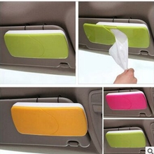 bathroom Car Sun Visor Sun-Shading Board car Tissue Box Plastic Hanging Pumping Paper Napkin Holder with Clip Pink/Green/Orange(China)