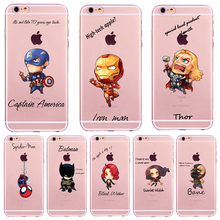 New Marvel Comics super hero Case For iPhone 4 4S 5 5s SE 6 6S 7 Plus Avengers Back Design Soft TPU Phone Case Back Cover Skin