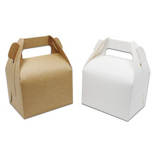 20Pcs/lot Plain Blank White / Brown Cardboard Cake Packaging Handle Box For Gift Weeding Hand Cake Packing Box Cookie Retail