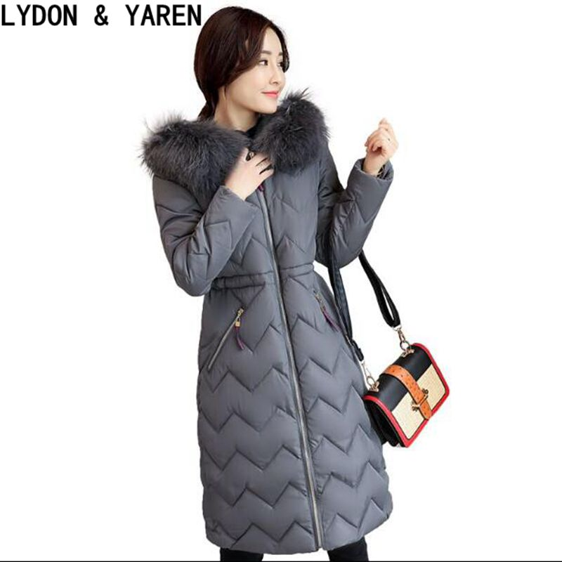 2017 cotton coat for women new long ripple with a hooded waist thickening warm big fur collar jacket womens winter thin ParÎäåæäà è àêñåññóàðû<br><br>