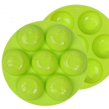 High Quality Random Color 7 hole smiley silicone bakeware round cake pan soap mold silicone mold chocolate ice lattice
