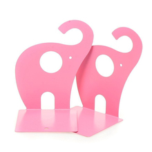 Affordable 1pair Pink Cute Elephant Non-skid Bookends Book Rack Book Organizer Bookend Art(China)
