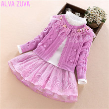 Buy ALVA ZUVA Children Clothing Sets Princess Baby Girl Sweater Blouse Skirt 3Pcs/Suit Kids Clothes Clt297 for $39.98 in AliExpress store