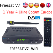 Satellite TV Receiver decoder Freesat V7 HD DVB-S2 receptor+USB Wifi with 1 year 7 lines Europe CCCam account full powervu cccam(China)